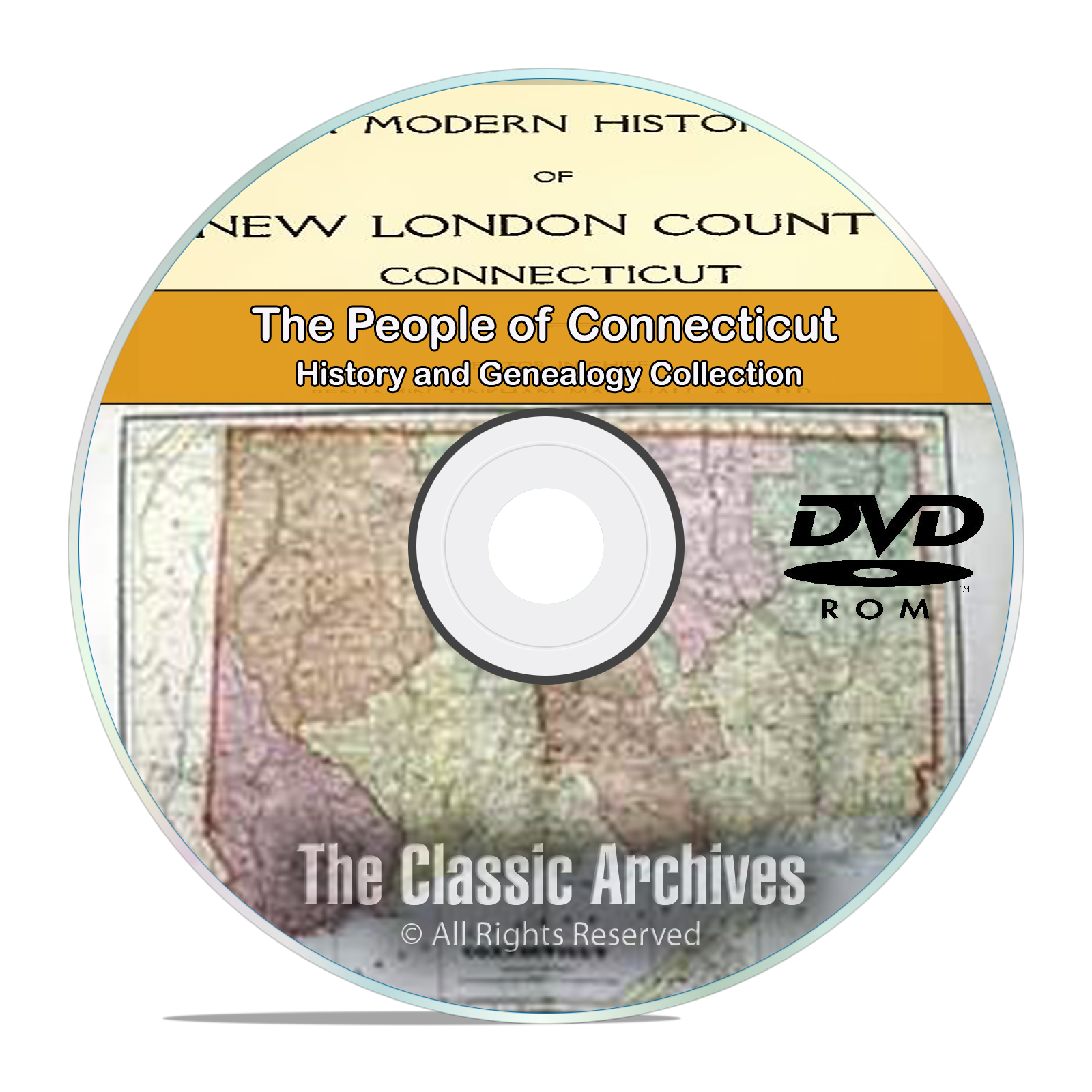 Connecticut CT, People, Cities, Towns, History and Genealogy 75 books DVD